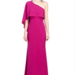 VINCE CAMUTO One Shoulder Asymmetrical Caplet Gown